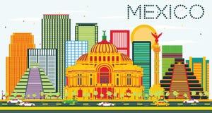 Horizonte de México con los edificios del color y el cielo azul stock de ilustración
