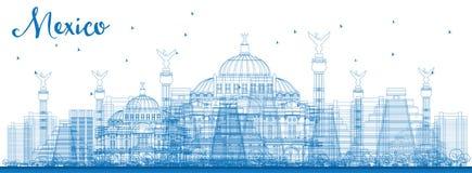 Horizonte de México del esquema con las señales azules libre illustration