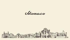Horizonte de Mónaco, bosquejo exhausto de la ciudad del vector del vintage stock de ilustración