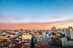 Horizonte de Madrid en la oscuridad fotografía de archivo libre de regalías