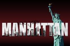 Horizonte de Manhattan con la estatua de la libertad Imágenes de archivo libres de regalías