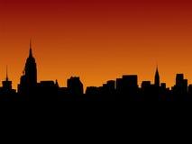 Horizonte de Manhattan en la puesta del sol Fotografía de archivo libre de regalías