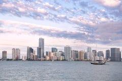 Horizonte de Miami de Key Biscayne Foto de archivo libre de regalías