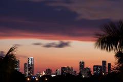 Horizonte de Miami en la puesta del sol Fotos de archivo libres de regalías