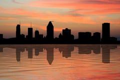 Horizonte de Montreal en la puesta del sol Fotos de archivo