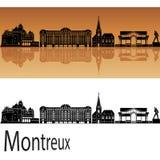 Horizonte de Montreux en fondo anaranjado fotografía de archivo