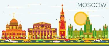 Horizonte de Moscú con los edificios del color y el cielo azul libre illustration