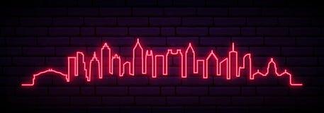 Horizonte de neón rojo de la ciudad de Atlanta stock de ilustración