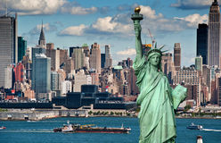 Horizonte de New York City del concepto del turismo Imagenes de archivo