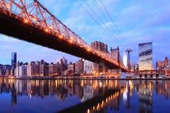 Horizonte de New York City en la reina Foto de archivo