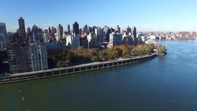 Horizonte de New York City Tiro aéreo del New York City resolución 4K almacen de metraje de vídeo