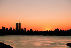 Horizonte de Nueva York antes de 9-11 Foto de archivo libre de regalías