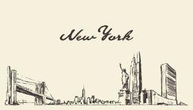 Horizonte de Nueva York, bosquejo exhausto de la ciudad del vector de los E.E.U.U. stock de ilustración