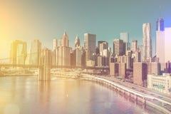 Horizonte de Nueva York céntrica, Manhattan - estilo del vintage Foto de archivo