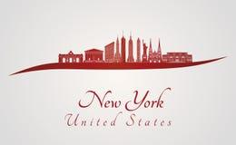 Horizonte de Nueva York V3 en rojo Imágenes de archivo libres de regalías