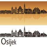 Horizonte de Osijek en fondo anaranjado fotografía de archivo