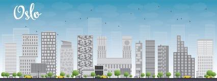 Horizonte de Oslo con Grey Building y el cielo azul Imagen de archivo libre de regalías