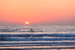 Horizonte de Paddling Sea Sunrise do atleta do Ressaca-esqui imagem de stock