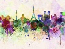 Horizonte de París en fondo de la acuarela Imagen de archivo
