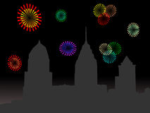 Horizonte de Philadelphia con los fuegos artificiales Foto de archivo