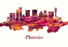 Horizonte de Phoenix Arizona en rojo libre illustration