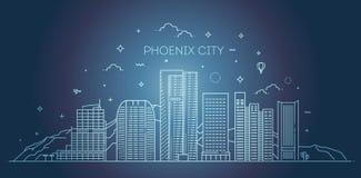 Horizonte de Phoenix, silueta detallada Ejemplo de moda del vector, estilo linear stock de ilustración