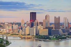 Horizonte de Pittsburgh Imágenes de archivo libres de regalías