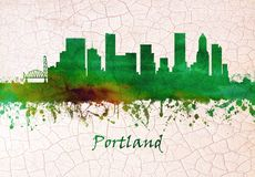Horizonte de Portland Oregon ilustración del vector