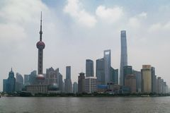 Horizonte de Pudong - Shangai, China foto de archivo