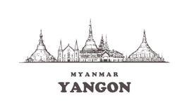 Horizonte de Rangún, ejemplo del vintage de Rangún, edificios exhaustos de la mano stock de ilustración