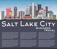 Horizonte de Salt Lake City con Gray Buildings, el cielo azul y la copia Fotografía de archivo libre de regalías