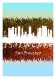 Horizonte de San Francisco azul y blanco stock de ilustración