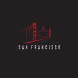 Horizonte de San Francisco y diseño del vector de puente Golden Gate libre illustration