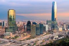 Horizonte de Santiago de Chile Foto de archivo libre de regalías
