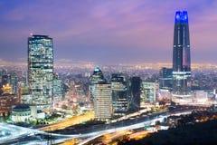 Horizonte de Santiago de Chile Foto de archivo
