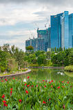 Horizonte de Singapur del distrito financiero y de Marina Bay en día Imagenes de archivo