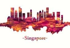 Horizonte de Singapur en rojo ilustración del vector