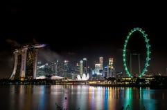 horizonte de 2017 01 01 Singapur tomado de jardín por la entrada del sur de la bahía Imágenes de archivo libres de regalías