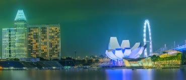 Horizonte de Singapur y opinión Marina Bay Foto de archivo libre de regalías