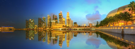 Horizonte de Singapur y opinión Marina Bay Imagen de archivo