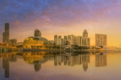 Horizonte de Singapur y opinión Marina Bay Imagen de archivo libre de regalías