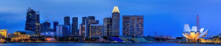 Horizonte de Singapur y opinión Marina Bay Foto de archivo