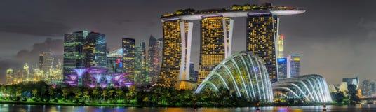 Horizonte de Singapur y opinión Marina Bay Fotografía de archivo