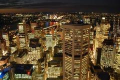 Horizonte de Sydney de la noche Imágenes de archivo libres de regalías