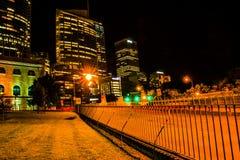 Horizonte de Sydney durante noche Fotos de archivo libres de regalías