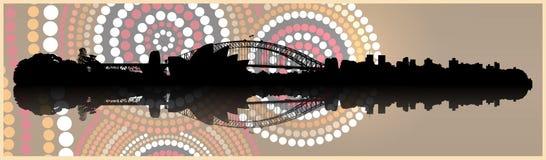 Horizonte de Sydney en fondo aborigen del arte stock de ilustración