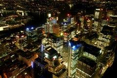 Horizonte de Sydney en la noche Foto de archivo libre de regalías