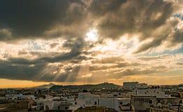 Horizonte de Túnez en el amanecer Imágenes de archivo libres de regalías