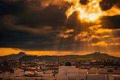 Horizonte de Túnez en el amanecer Fotografía de archivo libre de regalías