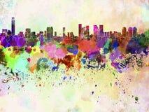 Horizonte de Tel Aviv en fondo de la acuarela stock de ilustración